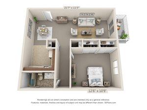 1 Bedroom, 1 Bath (Balcony, Heat Paid)