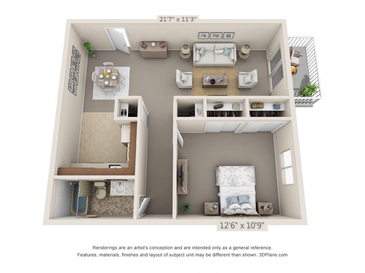 1 Bedroom, 1 Bath (Balcony, Heat Paid) Floor Plan 6