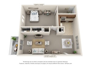 1 Bedroom, 1 Bath (Balcony)