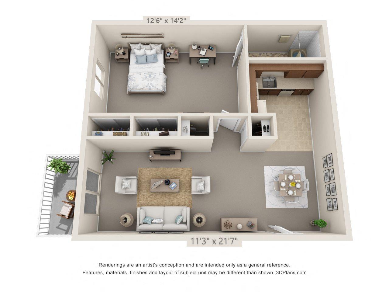 1 Bedroom, 1 Bath (Patio) Floor Plan 1