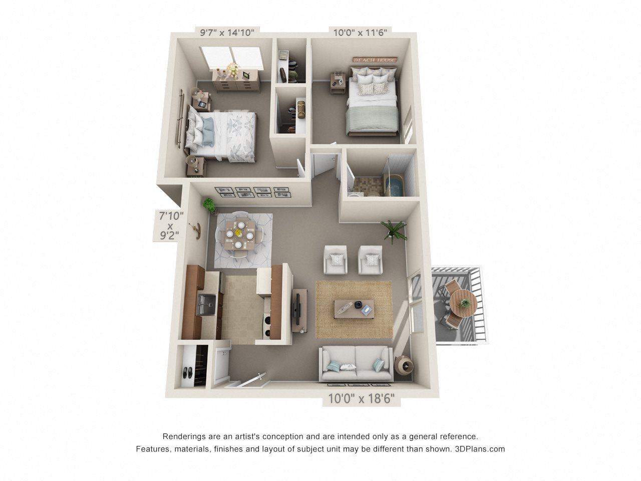2 Bedroom, 1 Bath (Balcony, Heat Paid) Floor Plan 12