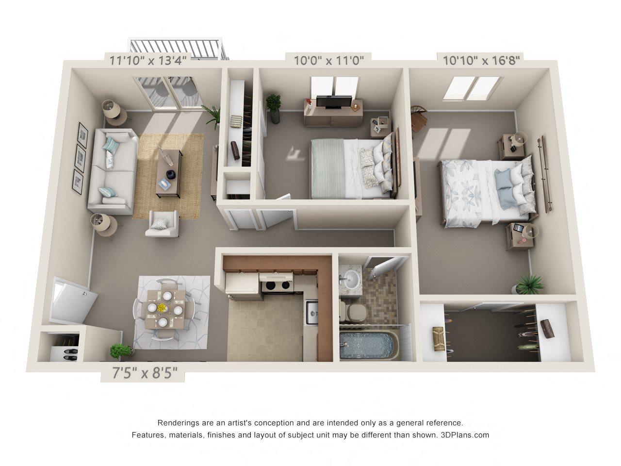 2 Bedroom, 1 Bath (Balcony, Heat Paid) Floor Plan 10