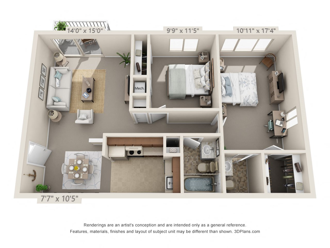 2 Bedroom, 2 Bath (Balcony) (Fireplace & Heat Paid Available) Floor Plan 14