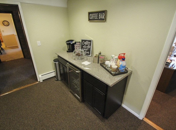 This is a photo of the coffee bar located in the Leasing Office at Aspen Village Apartments in Cincinnati, OH.