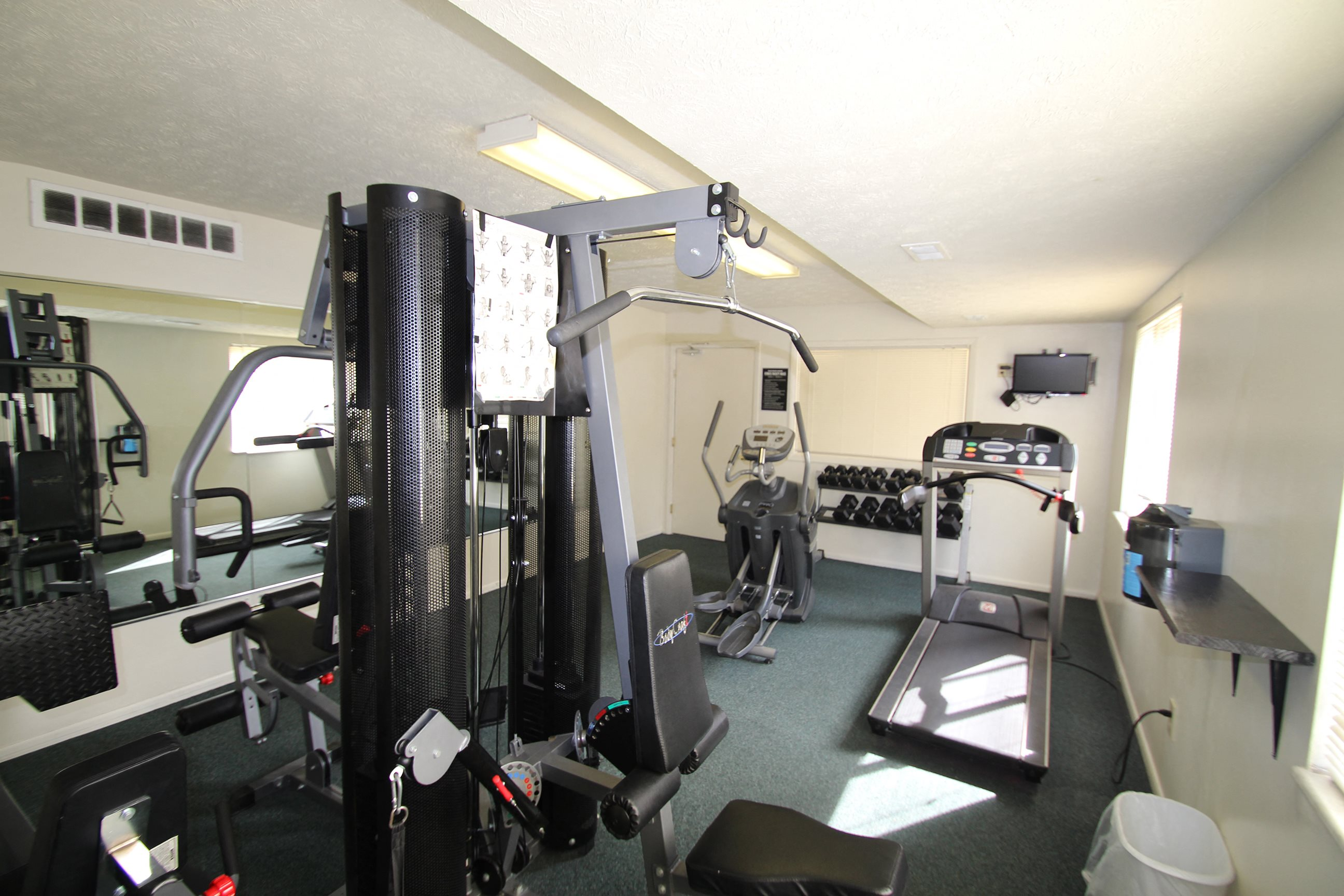 This is the fitness center at The Blue Grass Manor in Erlanger, KY