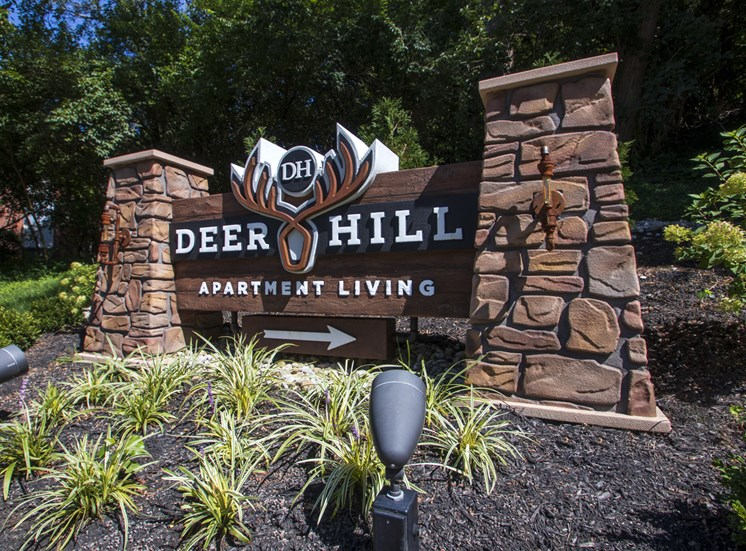 This is a picture of entrance sign at Deer Hill Apartments in Cincinnati, Ohio.