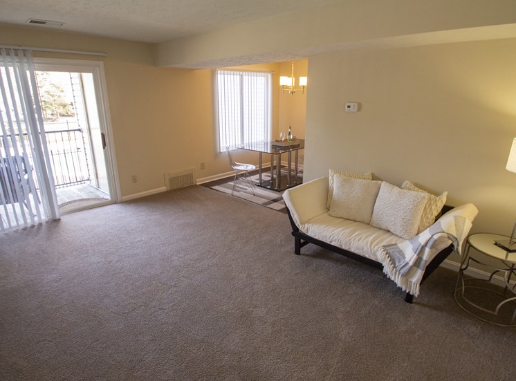 This is a photo of the living room of a 1 bedroom apartment at Deer Hill Apartments in Cincinnati, OH.