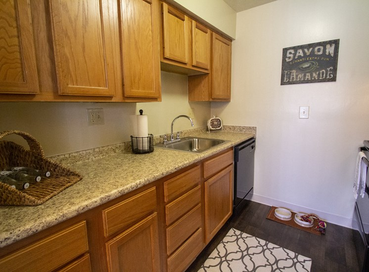 This is a photo of the kitchen in a 1 bedroom apartment at Deer Hill Apartments in Cincinnati, OH.