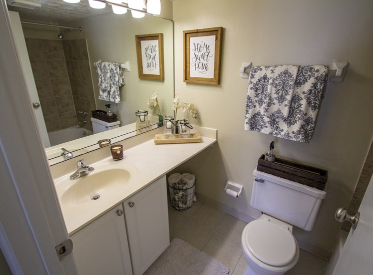 This is a photo of the bathroom in a 1 bedroom apartment at Deer Hill Apartments in Cincinnati, OH.