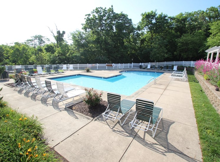 This is a photo of the Albemarle pool area at Fairfield Pointe Apartments in Fairfield, OH