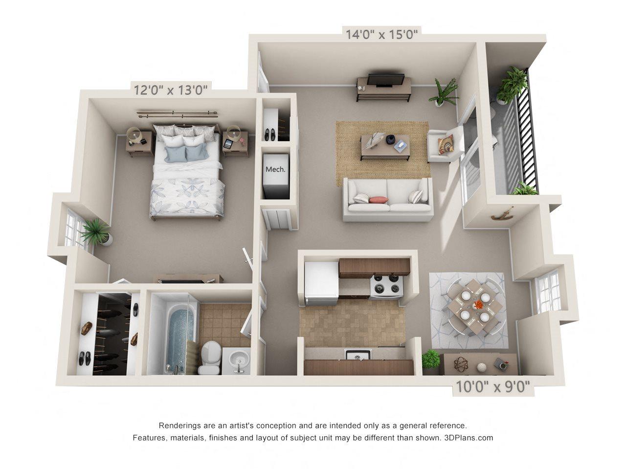 1 Bedroom, 1 Bath Floor Plan 1