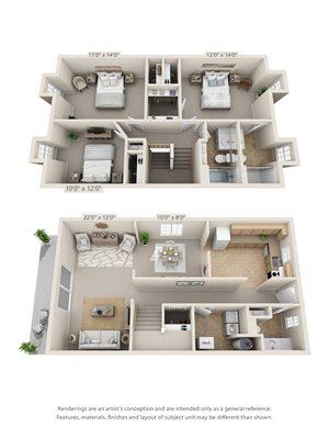 3 Bedroom, 2 1/2 Bath Townhome