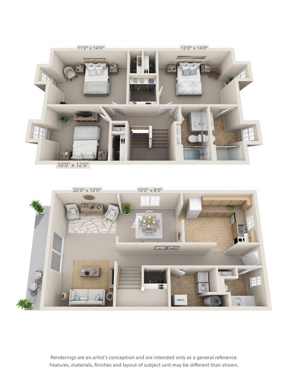 3 Bedroom, 2 1/2 Bath Townhome Floor Plan 5