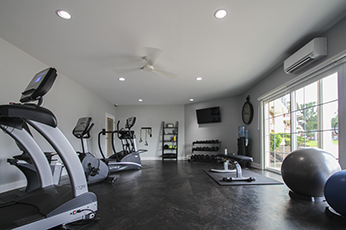 This is the fitness center at Lake of the Woods Apartments in Cincinnati, OH
