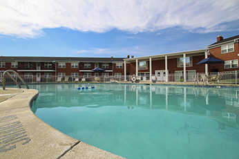 This is the swimming pool at Lake of the Woods Apartments in Cincinnati, OH