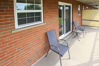 This is the patio at Lake of the Woods Apartments in Cincinnati, OH