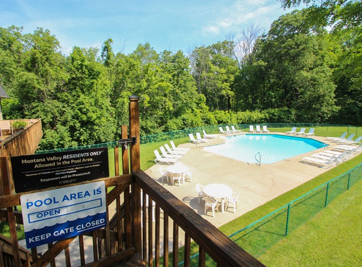 This is a photo of the pool area at Montana Valley Apartments in Cincinnati, OH