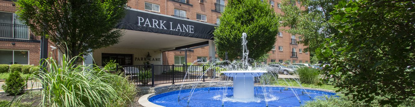 This is a photo of the fountain in front of the entrance to Park Lane Apartments in Cincinnati, Ohio.