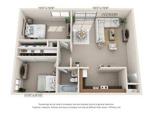 2 Bedroom, 1 Bath (Upper)