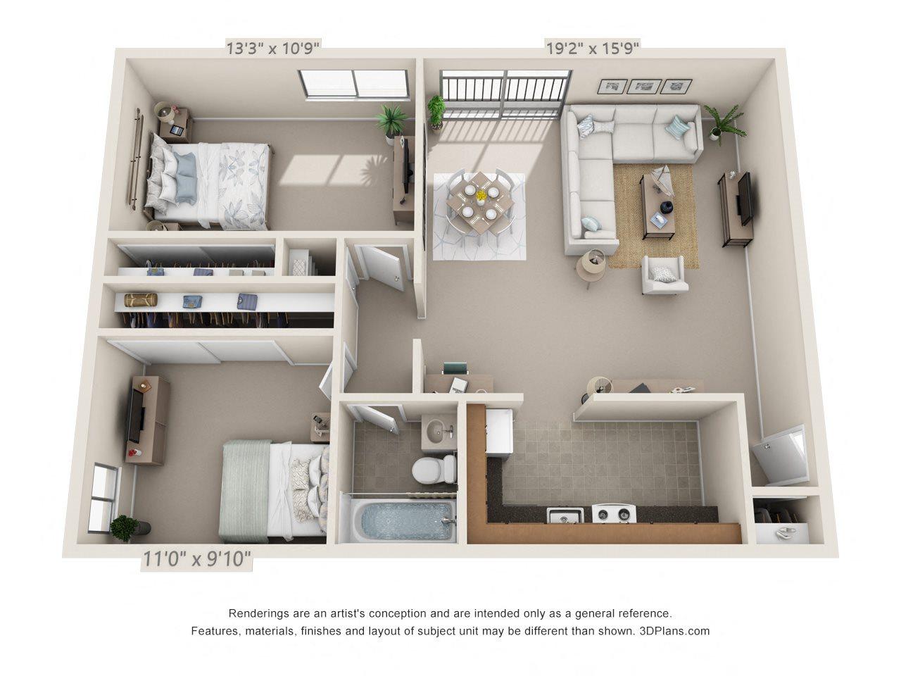 2 Bedroom, 1 Bath (Lower) Floor Plan 3