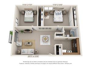 2 Bedroom, 1 Bath—Balcony