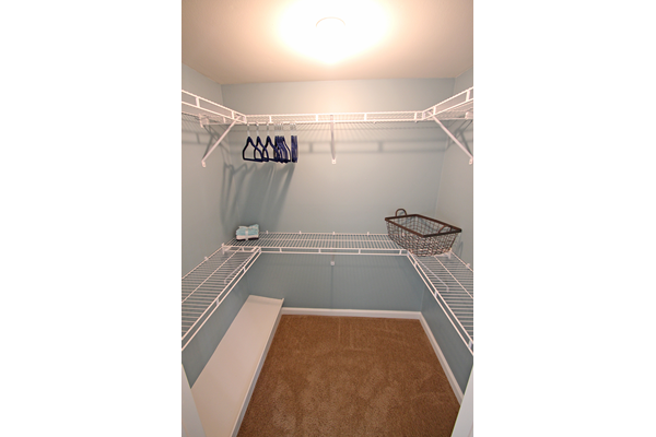 This is the walk in closet at Village East Apartments in Franklin, OH
