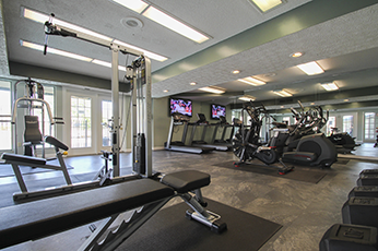 This is the fitness center at Village East Apartments in Franklin, OH