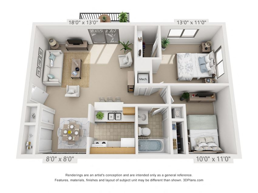 This is a 3D floor plan of a 841 square foot 2 bedroom apartment at  Village East Apartments in Franklin, OH.