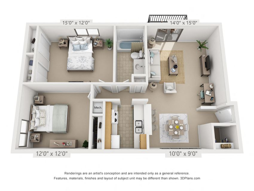 This is a 3D floor plan of a 882 square foot 2 bedroom apartment at  Village East Apartments in Franklin, OH.