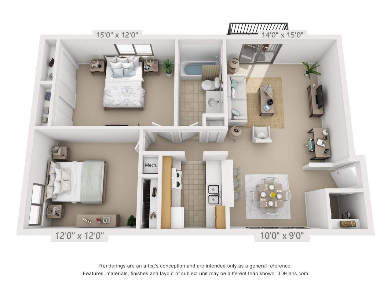 2 Bedroom, 1 Bath (Balcony) Floor Plan 9