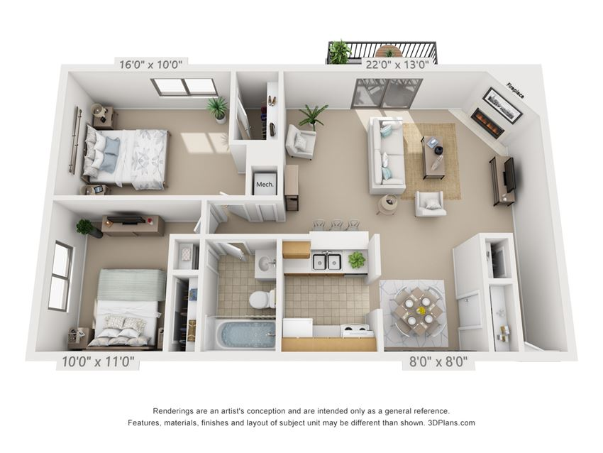This is a 3D floor plan of a 922 square foot 2 bedroom apartment at  Village East Apartments in Franklin, OH.