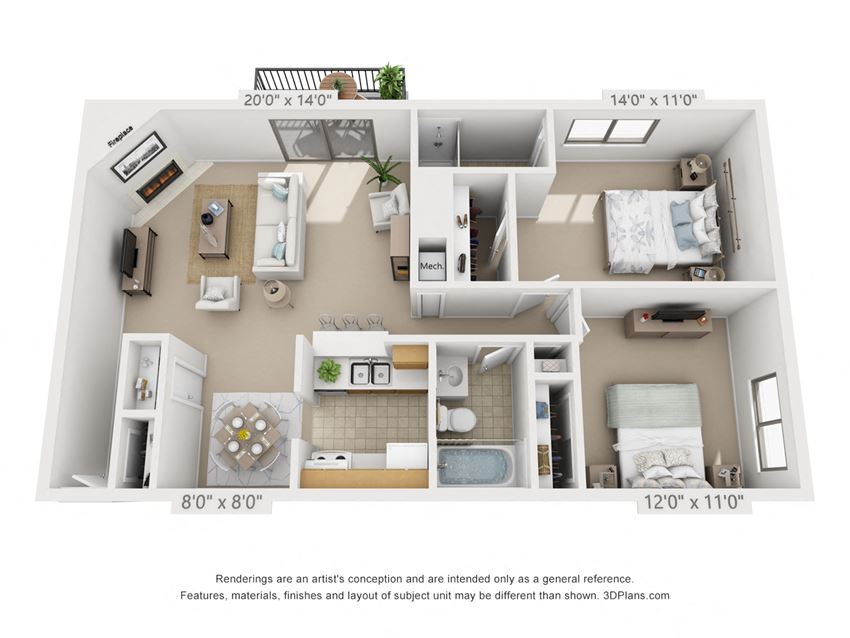 This is a 3D floor plan of a 1018 square foot 2 bedroom apartment at  Village East Apartments in Franklin, OH.