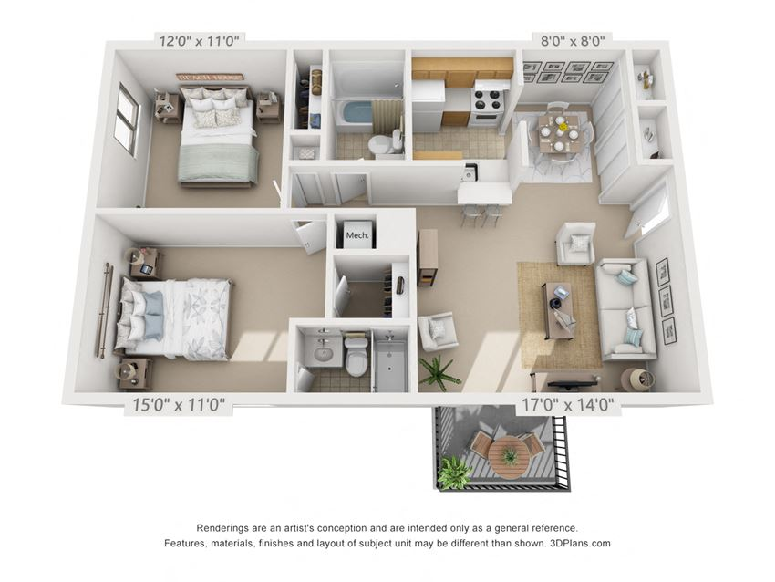 This is a 3D floor plan of a 925 square foot 2 bedroom apartment at  Village East Apartments in Franklin, OH.