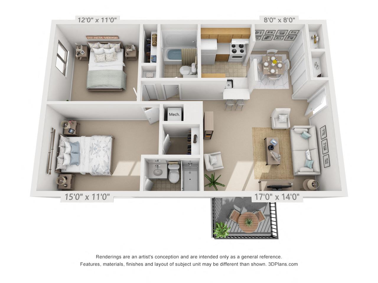 2 Bedroom, 2 Bath (Balcony/Courtyard View) Floor Plan 13
