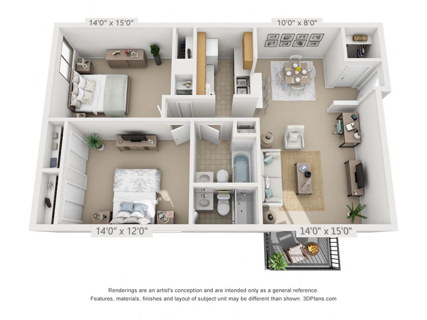 This is a 3D floor plan of a 930 square foot 2 bedroom apartment at  Village East Apartments in Franklin, OH.