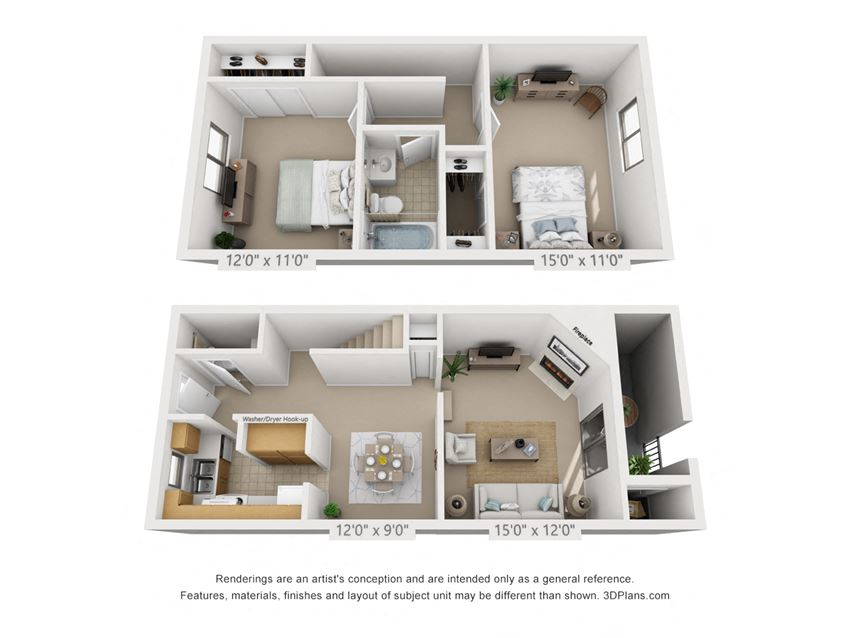 This is a 3D floor plan of a 1000 square foot 2 bedroom townhome at  Village East Apartments in Franklin, OH.