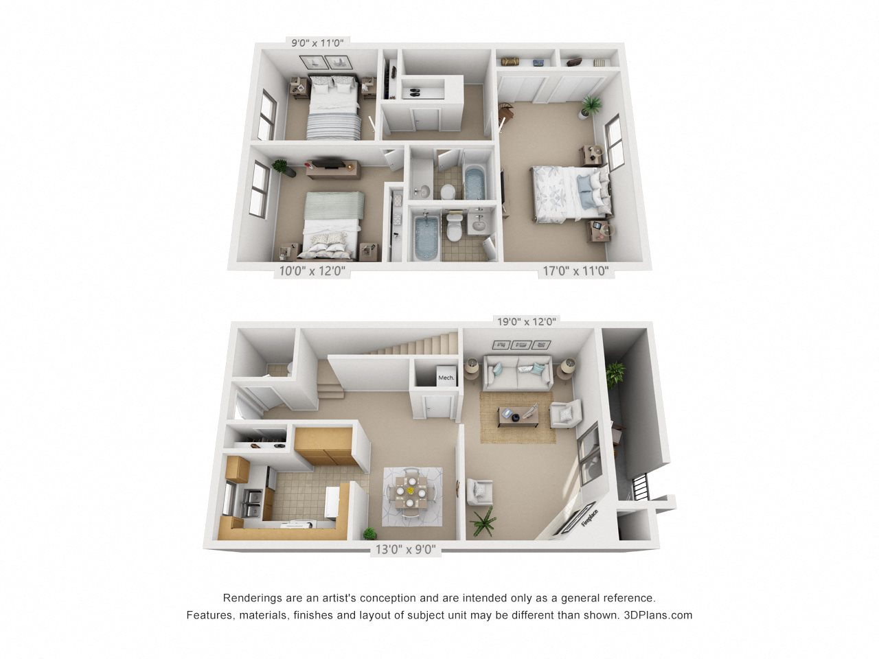 3 Bedroom Townhome Floor Plan 19