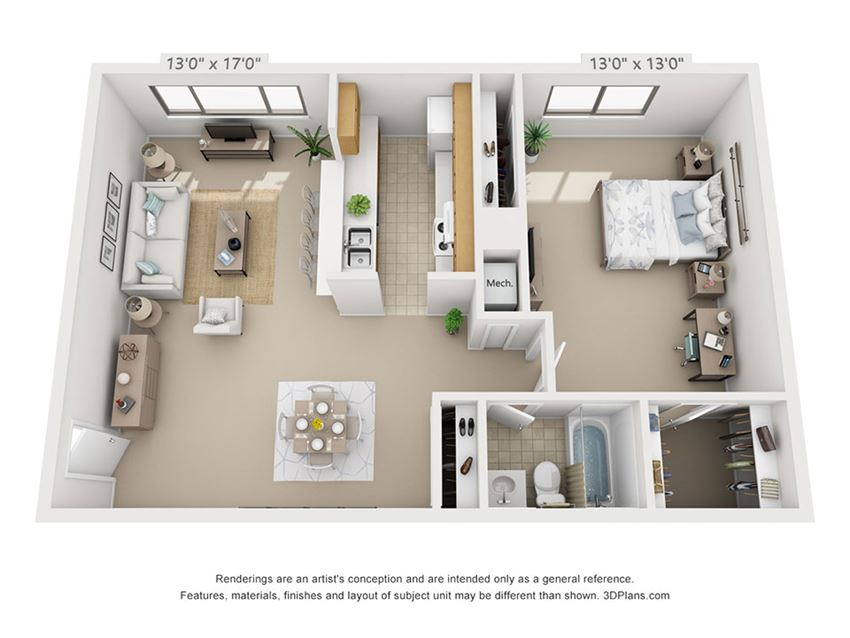 This is a 3D floor plan of a 684 square foot 1 bedroom apartment at  Village East Apartments in Franklin, OH.