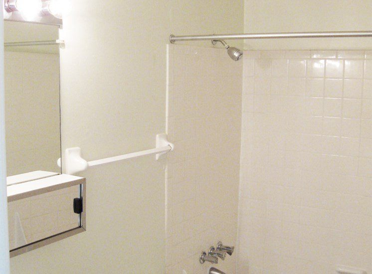 This is a photo of the bathroomin the 875 square foot 2 bedroom apartment at Wyoming Hills Apartments in Dayton, OH.