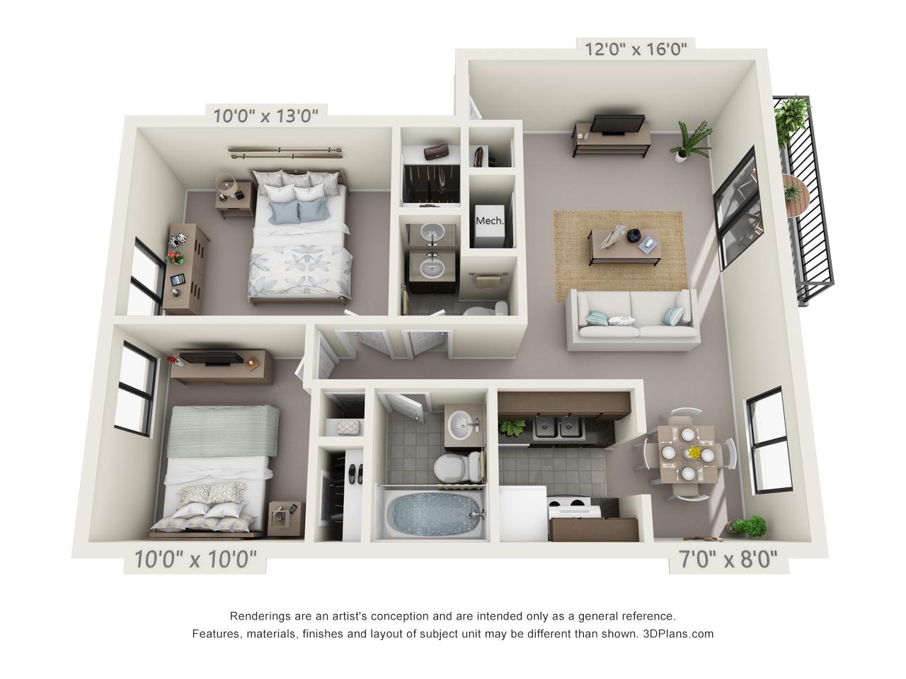 2 Bedroom, 1 1/2 Bathu2014Balcony Floor Plan 4