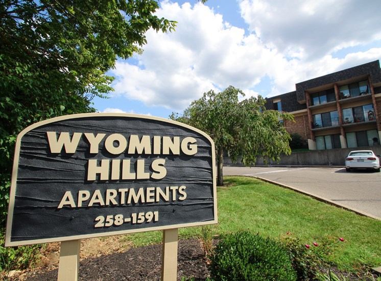 This is a photo the entrance sign at Wyoming Hills Apartments in Dayton, OH.