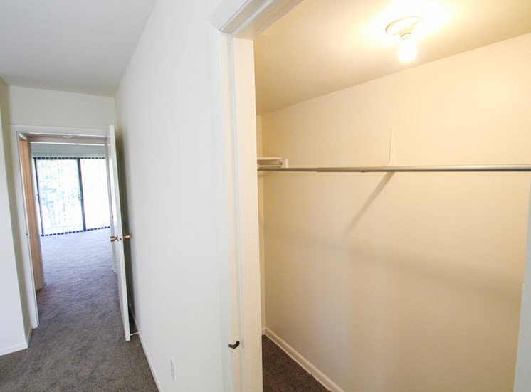 This is a photo of the bedroom closet in the 655 square foot 1 bedroom apartment at Wyoming Hills Apartments in Dayton, OH.