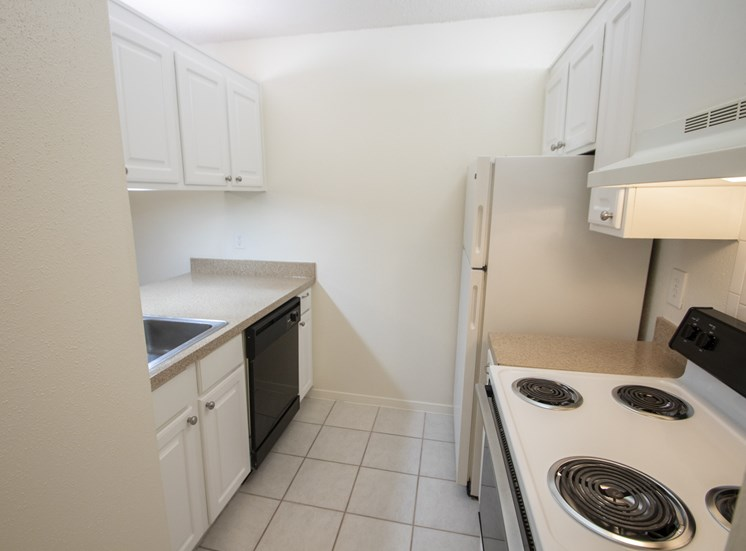 This is a photo of the kitchen of a 582 square foot 1 bedroom apartment at Cambridge Court Apartments in Dallas, TX.