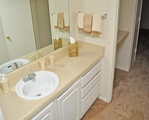 This is a photo of the bathroom vanity in an apartment at Princeton Court Apartments in Dallas, TX.