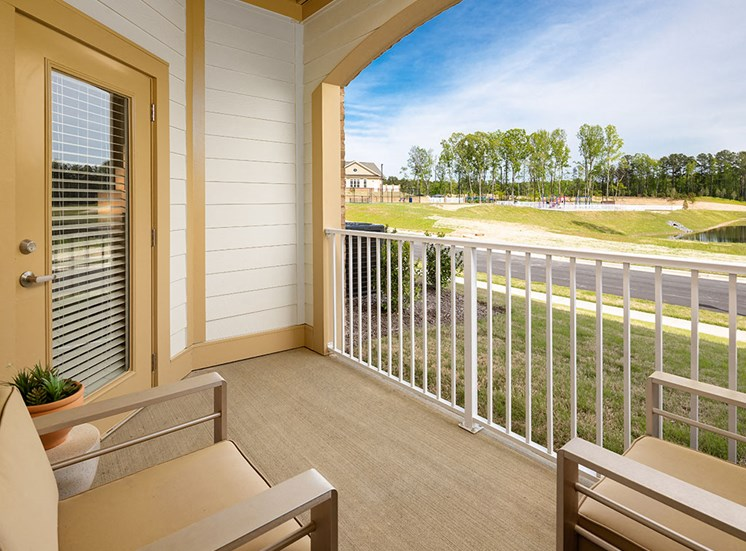 Balcony at luxury apartments in Apex NC