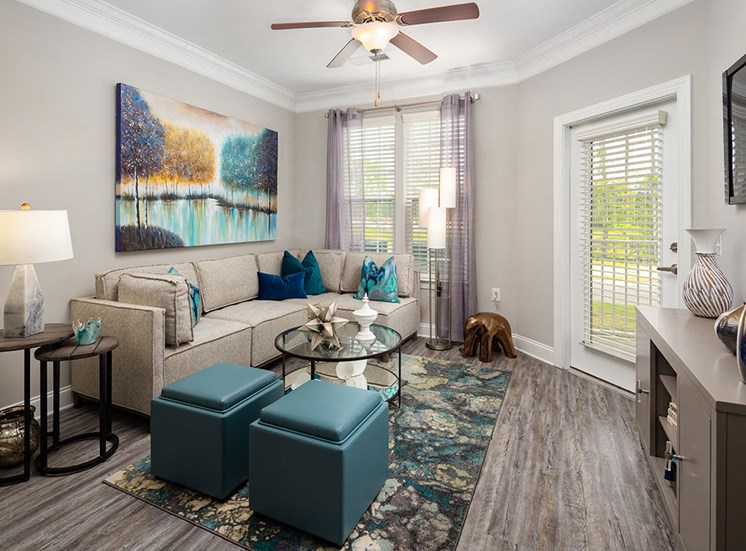 Living room at Villages at Westford in Apex NC