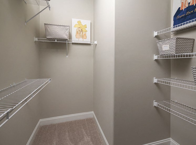 Closet space at Villages at Westford in Apex NC