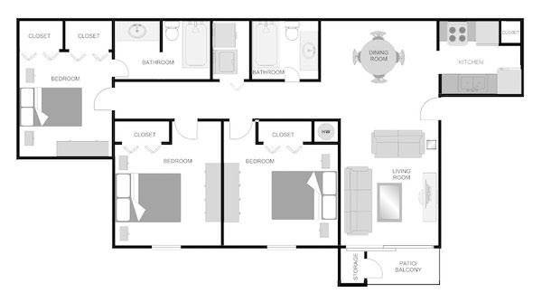 3x2 floor plans at The VUE at Crestwood Apartments, Alabama, 35212