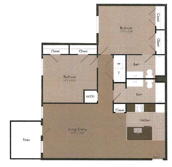 2x2 floor plan   The Landing OKC in Oklahoma City, OK 73135