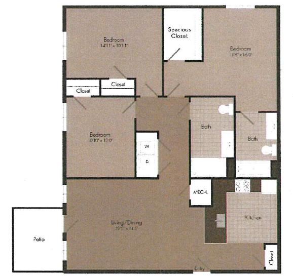 3x2 floor plan   The Landing OKC in Oklahoma City, OK 73135